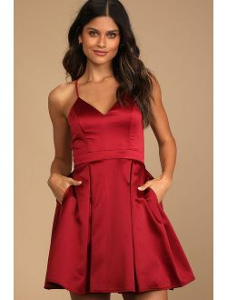 Be With You Wine Red Skater Dress