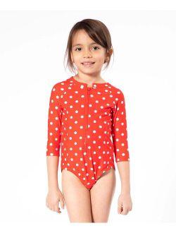 Red & White Polka Dot One-Piece Rashguard - Toddler & Girls
