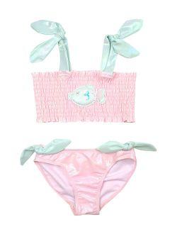 Kate Mack Pink & Light Blue Fish Bikini - Toddler & Girls