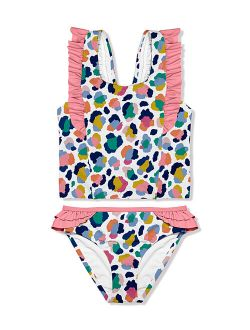Millie Loves Lily White & Pink Leopard Ruffle-Detail Tankini - Toddler & Girls