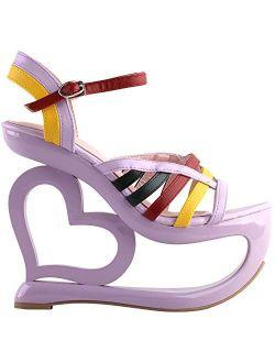SHOW STORY Retro Multicoloured Strappy Heart Heel Wedge Evening Platform Sandals,LF40223