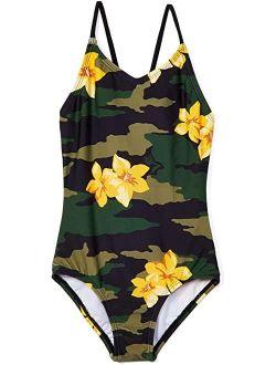 Daisy Beach Sport One-Piece Swimsuit (Big Kids)