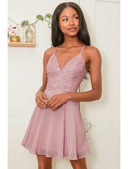 Sweet Emotions Mauve Pink Crochet Lace Skater Dress