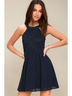Lover's Game Navy Blue Lace Skater Dress