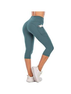 Steppe Naked Feeling High Waisted Yoga Pants Women's Workout Capris Leggings with Pockets