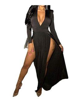 Women's Off Shoulder High Split Long Formal Party Maxi Dress Evening Gown