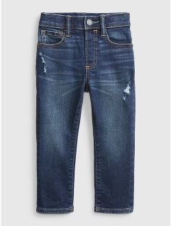 Toddler Elasticized Pull-On Slim Taper Destructed Jeans with Washwell™
