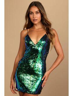 Light Me Up Iridescent Green Sequin Bodycon Mini Dress
