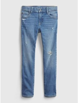 Kids Soft Wear Destructed Slim Jeans with Washwell ™