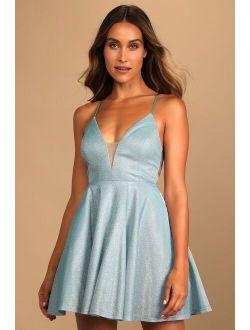 Sparkle of Your Eye Light Blue Sleeveless Mini Skater Dress