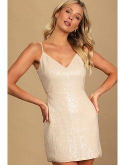 Like a Star Cream Sequin Backless Bodycon Mini Dress