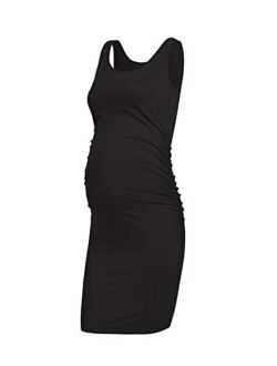 AMPOSH Women's Maternity Tank Dress, Casual Ruched Bodycon Pregnancy Dress for Photoshoot and Daily Wear