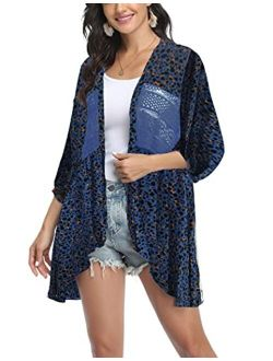Womens Cardigan Open Front 3/4 Sleeve Lace Lightweight Beach Summer Cover Up Tops