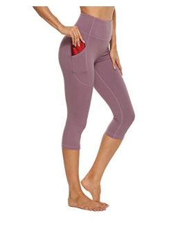 Stelle Women's Capri Yoga Pants with Pockets Essential High Waisted Legging for Workout