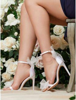 Bow Decor Stiletto Heeled Ankle Strap Sandals