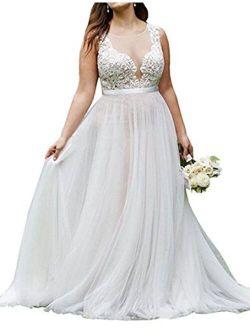 WeddingDazzle Plus Size Lace Beach Wedding Bridal Long Train Bride Dresses for Women's
