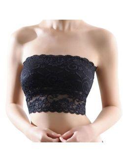 Sexy Women's Lace Bralet Bra Bustier Back Closure Bandeau Crop Top Padded Bra Bralette Strapless Tube Top Lingerie 2020