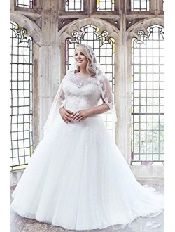 SlenyuBridal Women's Ball Gowns Plus Size Wedding Dresses Appliques Tulle Bridal Gown