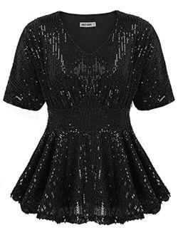 Women's Puff Sleeve Ruffle Hem Sparkle Shimmer V-neck Sequin Blouse