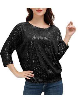 Women's Sparkle Sequin Tops Shimmer Glitter Loose Bat Sleeve Party Tunic Cold Shoulder Sparkly Dressy Tops