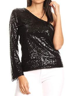 Anna-Kaci Women's Long Sleeve One Shoulder Sequin Party Top Blouse Sparkly Shirts