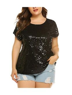 IN'VOLAND Women's Sequin Tops Plus Size Round Neck Sparkle Top Shimmer Glitter Short Sleeve T-Shirt Tunic Blouse