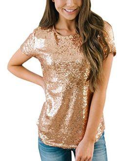Spadehill Womens Full Sequin Sparkle Tops Glitter Short Sleeve Party Shirt S-3X