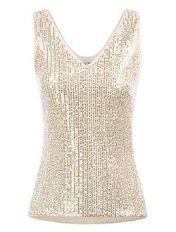 Women's Sleeveless Sparkle Sequin Tops V-neck Cami Sexy Club Tank Top
