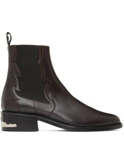 Toga Virilis SSENSE Exclusive Brown Leather Embellished Chelsea Boots