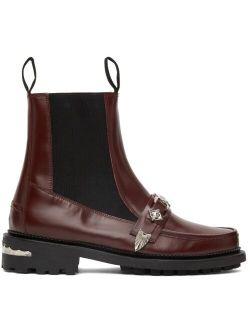 Toga Virilis Burgundy Polished Leather Moc Chelsea Boots