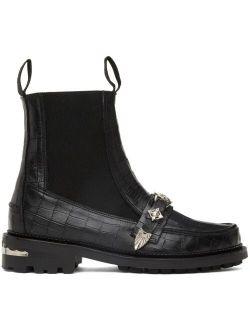 Black Croc Moc Chelsea Boots