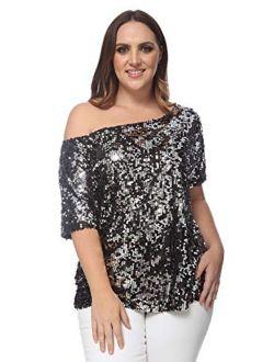 Anna-Kaci Women's Plus Size Sequin One Shoulder Short Sleeve Party Top