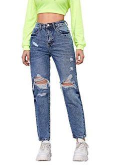 SheIn Women's High Waist Ripped Boyfriends Jeans Distressed Denim Long Pants