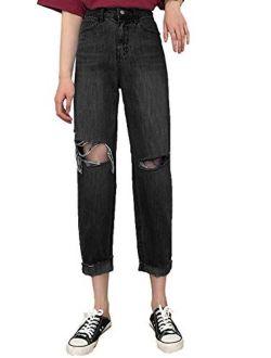 Anna-Kaci Womens Ripped Boyfriend Jeans High Waisted Frayed Knee Holes Distressed Baggy Crop Denim Pants