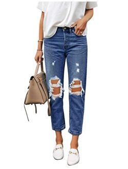 Utyful Women's High Waist Relaxed Fit Ripped Distressed Jeans Straight-Leg Mom Denim Pants