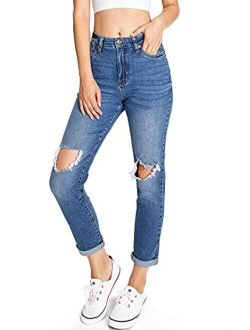 Celebrity Pink Women's Juniors High Waisted Distressed Mom Jeans