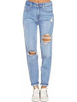 luvamia Women's Casual Ripped Jeans Elastic Waist Slim Boyfriend Jeans Denim Pants