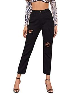 SOLY HUX Women's Mid Waist Ripped Jeans Casual Pocket Denim Pants