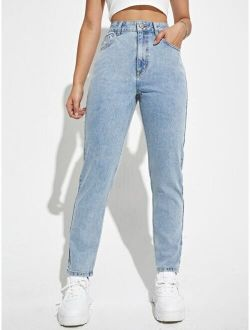 High Waisted Light Wash Mom Fit Jeans