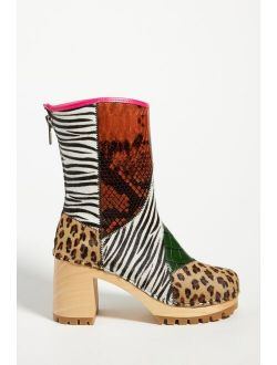 Swedish Hasbeens Patchwork Heeled Clog Boots