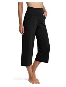 Promover Women's Wide Leg Yoga Capri Pants with Pockets High Waisted Lounge Sweatpants Workout Flare Crop Pants