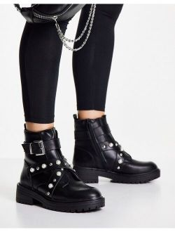 New Look pearl studded boots in black
