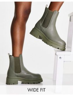 Wide Fit Archer chunky chelsea boots in khaki