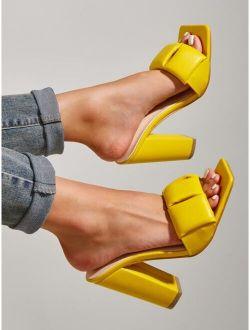 Minimalist Ruched Design Sandal Mules