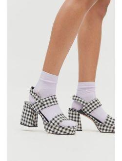 UO Rachel Gingham Strappy Platform Heel