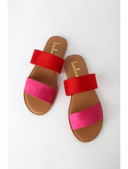 Time To Chill Red Fuchsia Slide Sandals