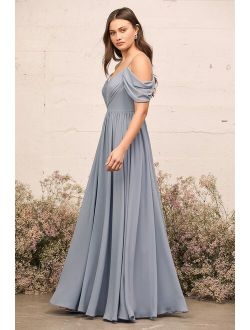 Lost in the Romance Slate Blue Cold-Shoulder Maxi Dress