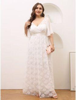 Plus Surplice Neck V-back Lace A-line Dress