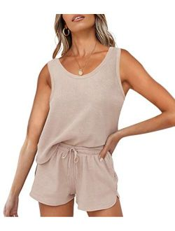 Women's Summer Waffle Knit Pajama Set Sleeveless Tank Top And Shorts Loungewear Sweatsuit Outfits With Pockets