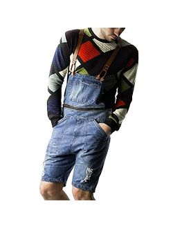 Mens Slim Fit Bib Overall Shorts Jumpsuits with Pocket Overalls Short Romper Casual Workout Summer Beach Jumpsuit